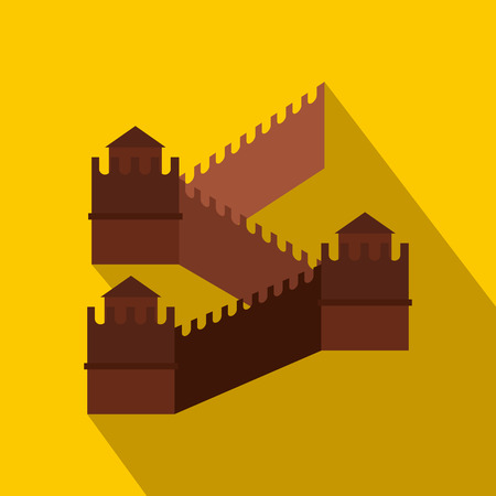 great: Great Wall of China icon in flat style on yellow background