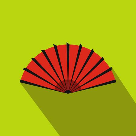 red fan: Red open hand fan icon in flat style on a green background