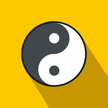 yang style: Ying yang icon in flat style on yellow background Illustration