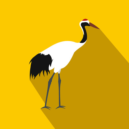 wader: Crane icon in flat style on yellow background