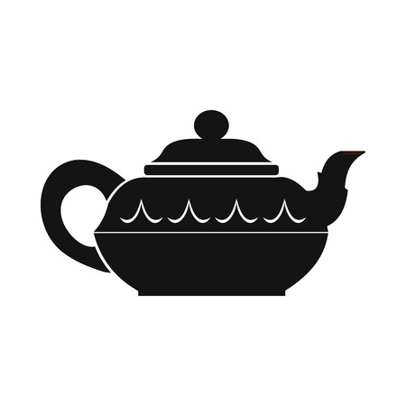 chinese teapot: Chinese teapot icon in simple style isolated on white Illustration