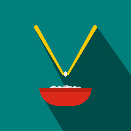 cooked rice: Bowl of rice with pair of chopsticks icon in flat style on a blue background
