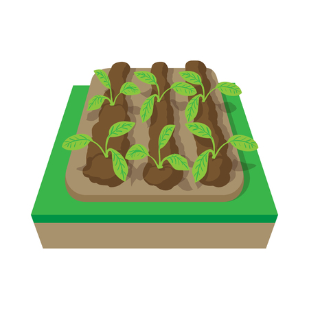 grower: Beds with plants cartoon icon isolated on a white background