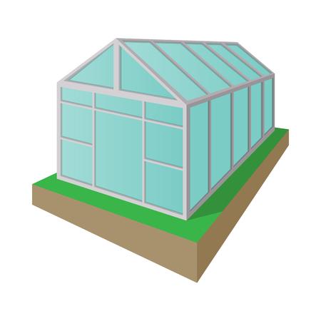 invernadero: icono de dibujos animados de efecto invernadero aislado en un fondo blanco