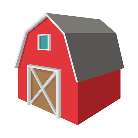 barn: Shed cartoon icon isolated on a white background Illustration