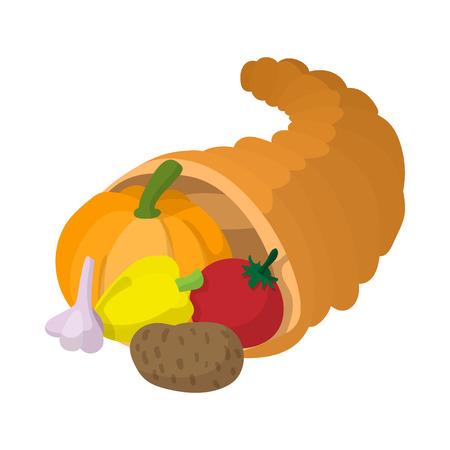 thanksgiving cornucopia: Cornucopia cartoon icon isolated on a white background Illustration