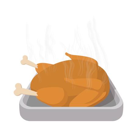 roasted turkey: Roasted turkey cartoon icon on the white background Illustration