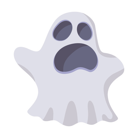 cute ghost: Halloween ghost icon in cartoon style on a white background