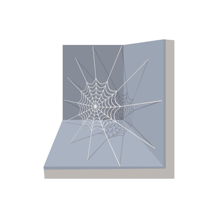 cobwebby: A spider and a web icon in cartoon style on a white background