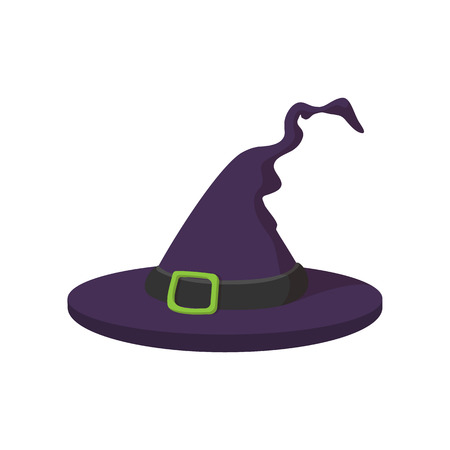 pointy hat: Witch hat icon in cartoon style on a white background