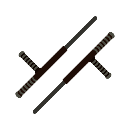 nightstick: Tonfa weapon flat icon isolated on white