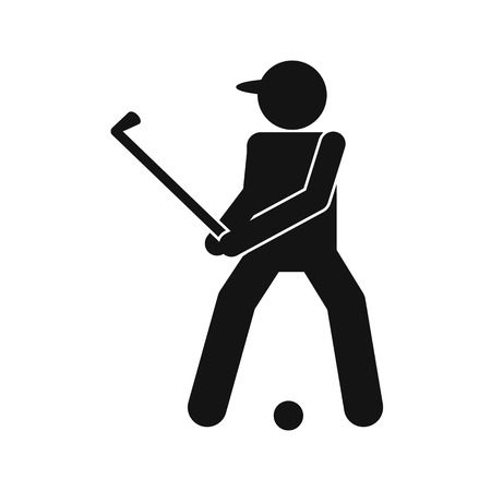golfer: Golfer silhouette flat icon isolated on white background
