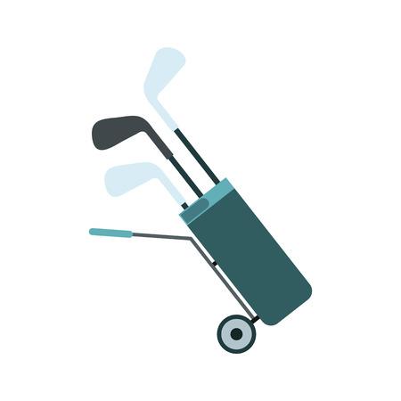 Un sac de golf à roulettes plein de clubs de golf icône plat isolé sur fond blanc Vecteurs
