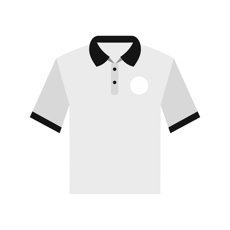 t shirt printing: White men polo shirt flat icon isolated on white background Illustration