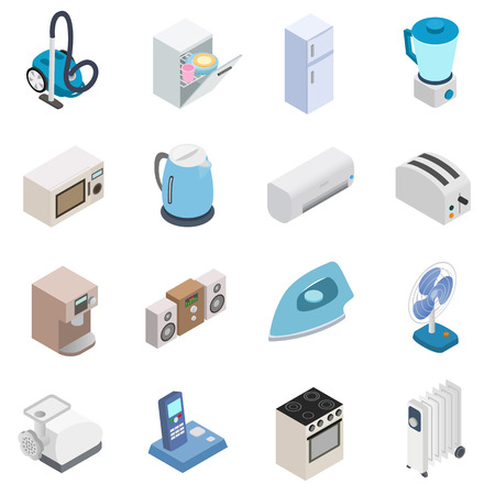 illustrate: Home appliances icons in isometric 3d style isolated on white