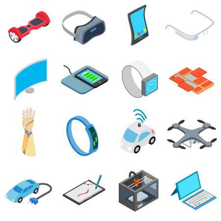 new technology: New technology icons set in isometric 3d style isolated on white