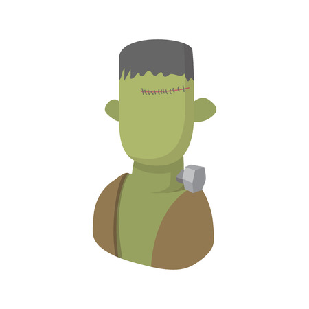 massacre: Zombie icon in cartoon style on a white background