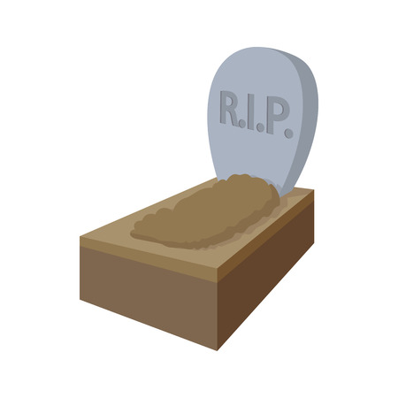 graves: Tombstone with RIP icon in cartoon style on a white background
