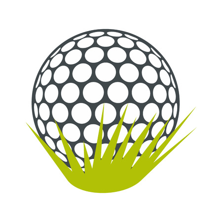 golfball: Golf ball on green grass flat icon isolated on white background Illustration