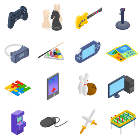 computer games: Games icons set in isometric 3d style isolated on white Illustration