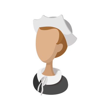 lass: Pilgrim girl cartoon icon isolated on a white background