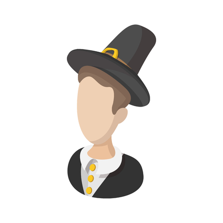 pilgrim costume: Pilgrim man cartoon icon isolated on a white background