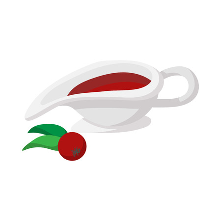 rowan tree: Rowan sauce cartoon icon isolated on a white background Illustration