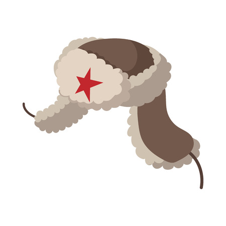 winter hat: Russian fur hat earflaps icon in cartoon style on a white  background Illustration