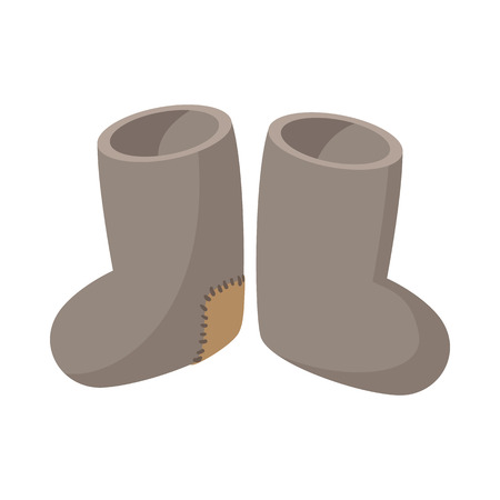 valenki: Russian traditional winter felt boots icon in cartoon style on a white background Illustration