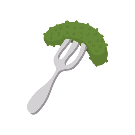 Salted cucumber on a fork icon in cartoon style on a white background