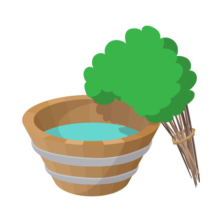 steam bath: Russian bath tub and broom icon in cartoon style on a white background Illustration