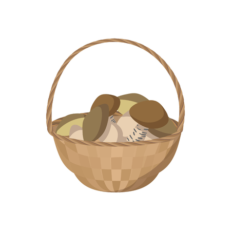 edible mushroom: Basket of mushrooms icon in cartoon style on a white background