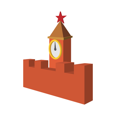 Spasskaya tower of Moscow Kremlin icon in cartoon style on a white background