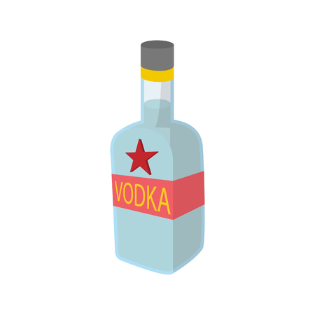 Bottle of vodka icon in cartoon style on a white background