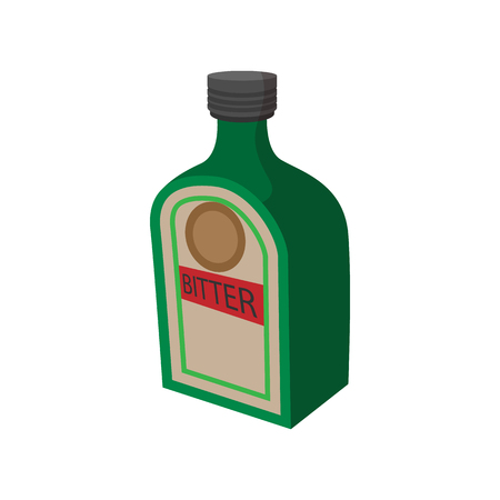 minibar: German alcohol drink made of herbs and spices icon in cartoon style on a white background Illustration