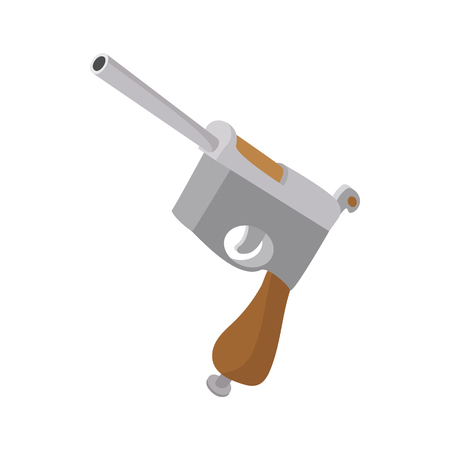 antique pistols: German pistol icon in cartoon style on a white background Illustration