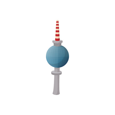 tv tower: TV tower in Berlin icon in cartoon style on a white background