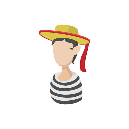 mime: Mime artist icon in cartoon style on a white background Illustration