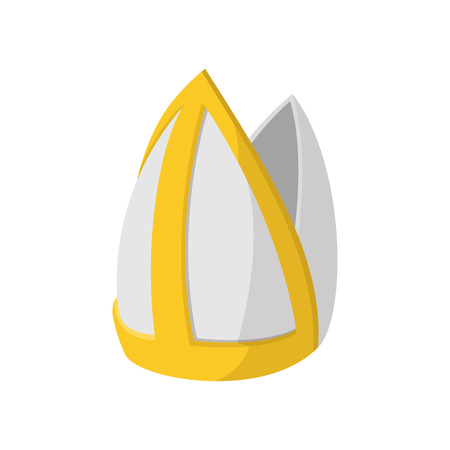 Pauselijke tiara icoon in cartoon-stijl op een witte achtergrond Vector Illustratie