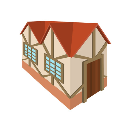 timbered: Half timbered house in Germany icon in cartoon style on a white background