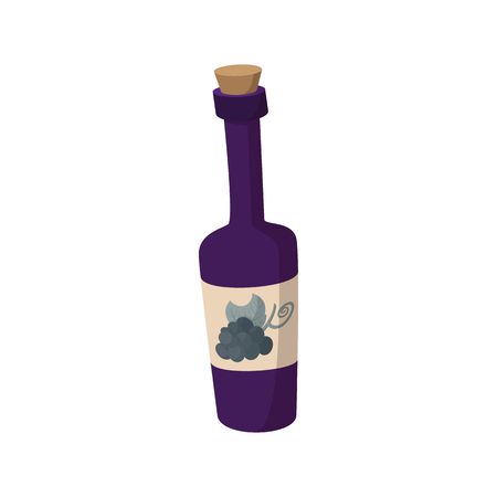 taster: A bottle of wine icon in cartoon style on a white background