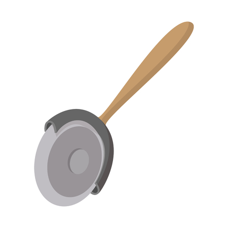 cutter: Pizza cutter icon in cartoon style on a white background