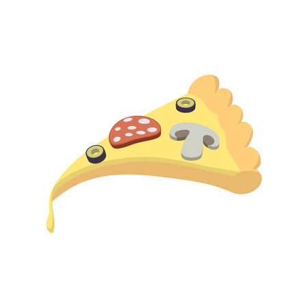 melted cheese: Slice of pizza icon in cartoon style on a white background Illustration