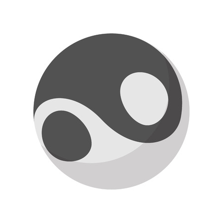 yang style: Yin yang icon in cartoon style isolated on white background