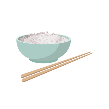 Cup of rice in cartoon style isolated on white background