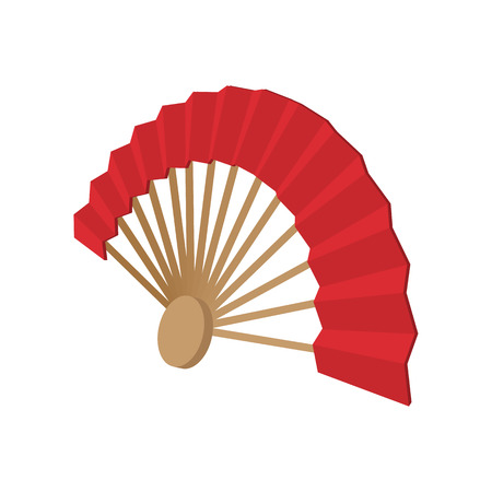 japanese fan: Japanese fan in cartoon style isolated on white background Illustration