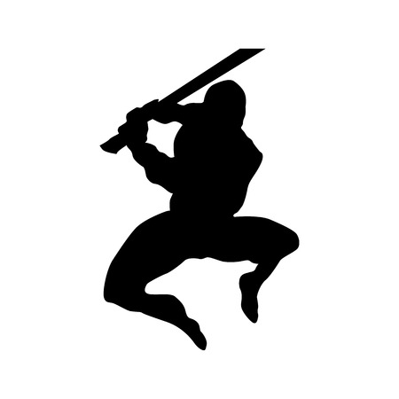 foot soldier: Samurai silhouette black isolated on white background Illustration