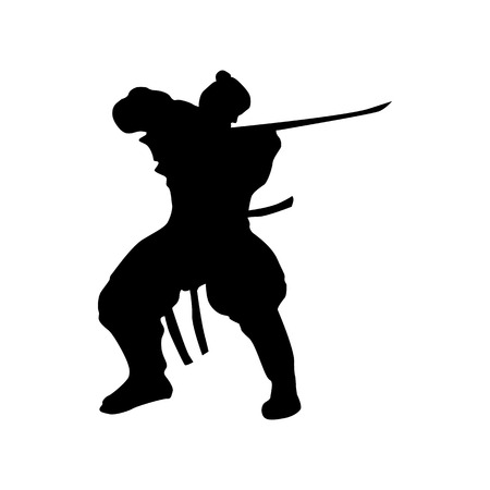 sidekick: Samurai silhouette black isolated on white background Illustration
