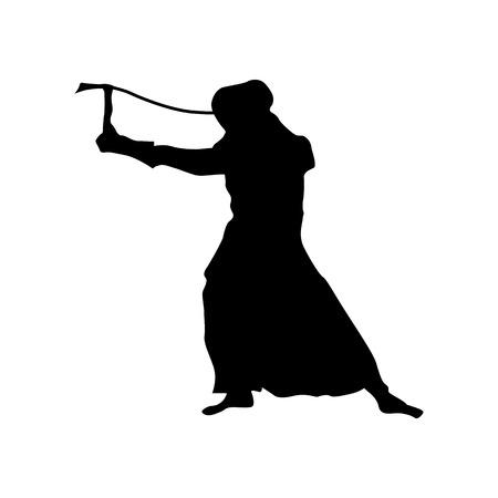 swordsman: Samurai silhouette black isolated on white background Illustration