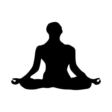joga: Yoga silhouette black isolated on white background